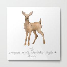 MBTI Spirit Animal Deer INFJ Cute Kawaii Watercolor Print Metal Print