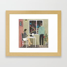 raining night Framed Art Print