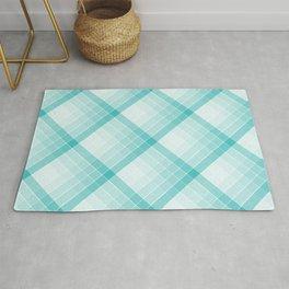 Aqua Blue Geometric Squares Diagonal Check Tablecloth Rug