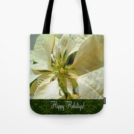 Pale Yellow Poinsettia 1 Happy Holidays S6F1 Tote Bag