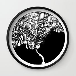 Black Ink Lines 10 Wall Clock