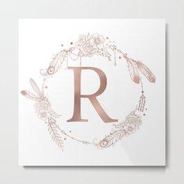 Letter R Rose Gold Pink Initial Monogram Metal Print