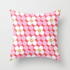 dotty flowers Throw Pillow