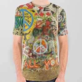 Peace Sign - Love - Graffiti All Over Graphic Tee