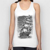 pirate ship Tank Tops featuring Caleuche Ghost Pirate Ship by Roberto Jaras Lira