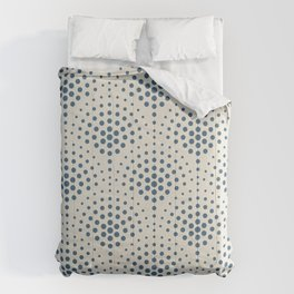 Blue Polka Dot Scallop Pattern on Linen White Pairs To 2020 Color of the Year Chinese Porcelain Comforters