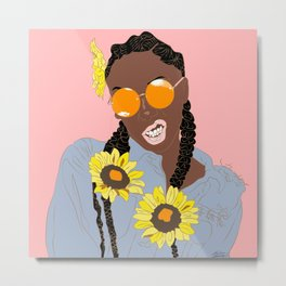 Believe in Yo Juice - Digital Black Goddess Vector Drawing Metal Print