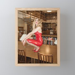 Lady in Red Framed Mini Art Print