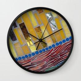 yellow mosaic Wall Clock