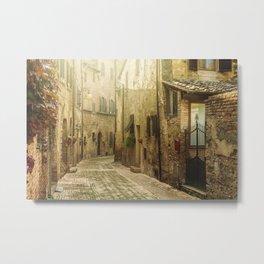 Vintage street in an old town in Italy Metal Print