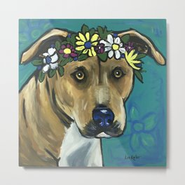 Colorful Pitbull Painting, Flower Crown Pit Metal Print