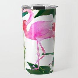 Flamingo and Flowers Travel Mug