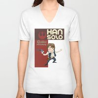 han solo V-neck T-shirts featuring Han Solo by Alex Santaló