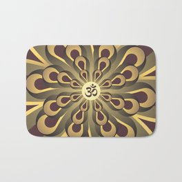 Om Mandala, Purple and Gold Fractal, Spiritual Gift, Yoga Lifestyle Bath Mat