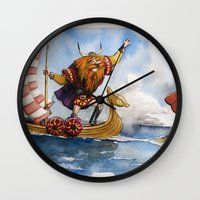 viking Wall Clocks featuring Viking by Jose Luis Ocana