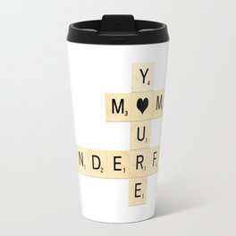 Mother's Day Scrabble Art - Mother, You're Wonderful with hearts Travel Mug