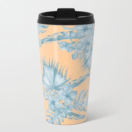 Ocean Blue Palm Leaves on Coral Apricot Metal Travel Mug