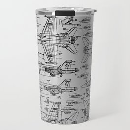 F-18 Blueprints // Light Grey Travel Mug