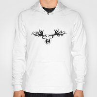 antler Hoodies featuring Antler Protection by Wolf & Whale