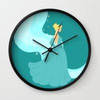cinderella Wall Clocks featuring Cinderella by Eva Duplan Illustrations