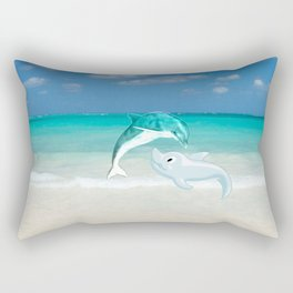Tropical turquoise sand beach cute nautical animals Rectangular Pillow