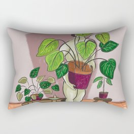 boys with love for plants illustration painting Rectangular Pillow