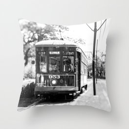 New Orleans St. Charles Streetcar Throw Pillow