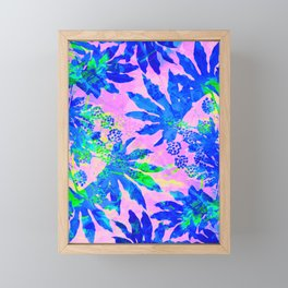 Tropical Adventure - Neon Blue, Pink and Green #tropical #homedecor Framed Mini Art Print