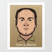 sopranos Art Prints featuring Tony Soprano - The Sopranos by Mathieu Marcou