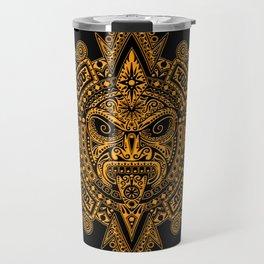 Ancient Yellow and Black Aztec Sun Mask Travel Mug