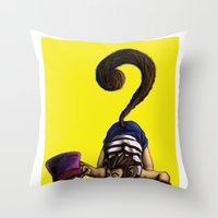 clueless Throw Pillows featuring Clueless by BIHLUSTRATION