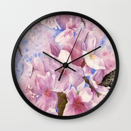 Cherry Blossom , Sakura ,  Art Watercolor Painting print by Suisai Genki  Wall Clock