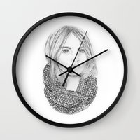 cara delevingne Wall Clocks featuring Cara Delevingne  by Claire Kenway