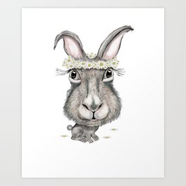Rabbit with Flower Art Print