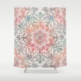 Autumn Spice Mandala In Coral Cream And Rose Shower Curtain