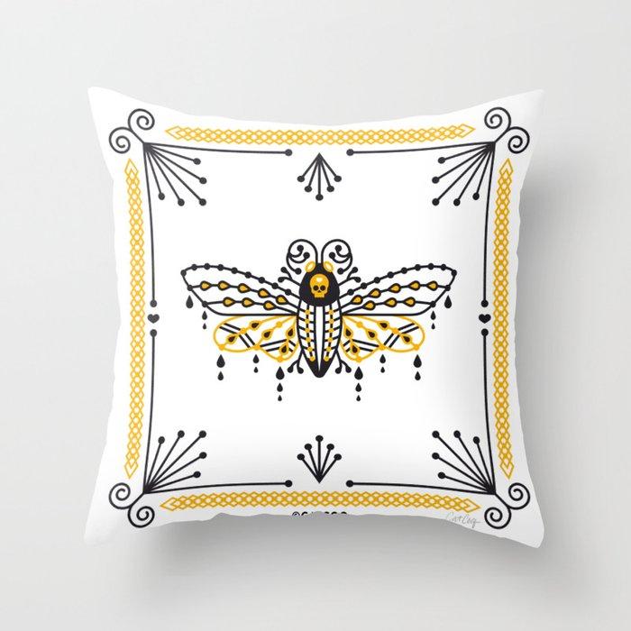 Death's Head Hawkmoth – Yellow & Black Palette Throw Pillow