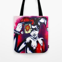 harley quinn Tote Bags featuring Harley Quinn  by thelocabat