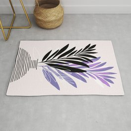 Lavender Olive Branches / Contemporary House Plant Drawing Rug