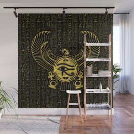 Egyptian Eye of Horus - Wadjet Gold and Black Wall Mural
