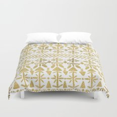 Norwegian Pattern – Gold on White Duvet Cover