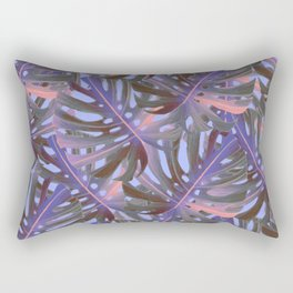 Monstera  Swiss Cheese Plant Leaf Toss in Electric Pink + Sea Blue Rectangular Pillow