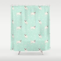 pugs Shower Curtains featuring Pugs  by Luiza Sequeira