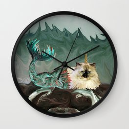 Behold the Mythical Merkitticorn - Mermaid Kitty Cat Unicorn Wall Clock