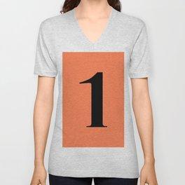 1 (BLACK & CORAL NUMBERS) Unisex V-Neck