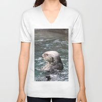 otter V-neck T-shirts featuring Otter by RMK Creative