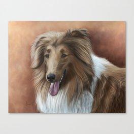 Collie Painting Portrait Canvas Print