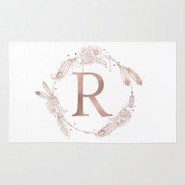 Letter R Rose Gold Pink Initial Monogram Rug