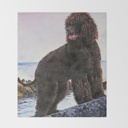 Irish Water Spaniel dog art from an original painting by L.A.Shepard Throw Blanket