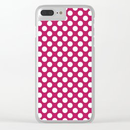 White and raspberry polka dots Clear iPhone Case