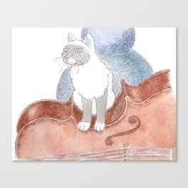 Cat on a Cello Canvas Print